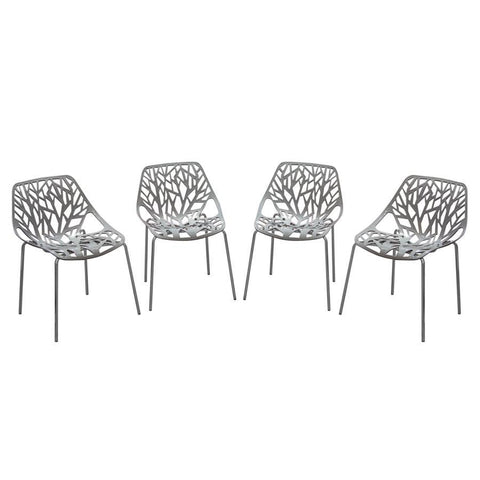 Diamond Sofa Pepper 4-Pack Accent Chairs in Grey Laser Cut Polypropylene w/Chrome Leg