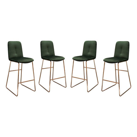 Diamond Sofa Phoebe Counter Height Stools in Emerald Velvet w/Polished Rose Gold Frame - Set of 4