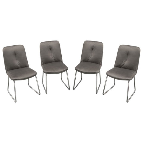 Diamond Sofa Phoebe Dining Chairs in Dusk Grey Velvet w/Polished Silver Frame - Set of 4