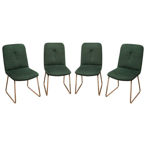 Diamond Sofa Phoebe Dining Chairs in Emerald Velvet w/Polished Rose Gold Frame - Set of 4