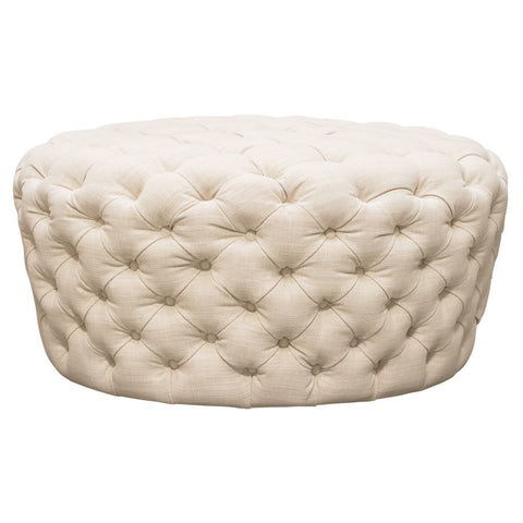 Diamond Sofa Posh Tufted Round Accent Ottoman in Sand Linen