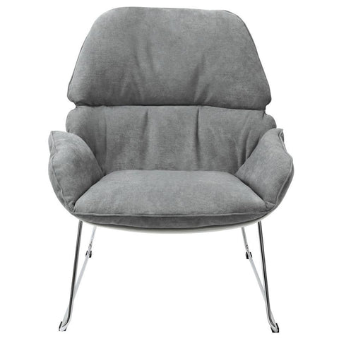 Diamond Sofa Relaxa Accent Chair in Grey Fabric w/White Polypropylene Shell & Chrome Frame