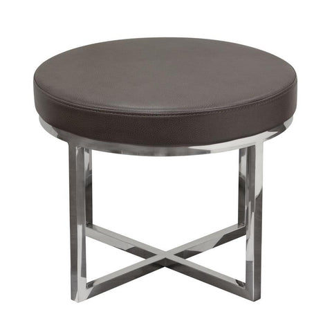 Diamond Sofa Ritz Round Accent Stool w/Padded Seat in Elephant Grey Bonded Leather & Polished Stainless Steel Base