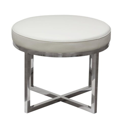 Diamond Sofa Ritz Round Accent Stool w/Padded Seat in White Bonded Leather & Polished Stainless Steel Base
