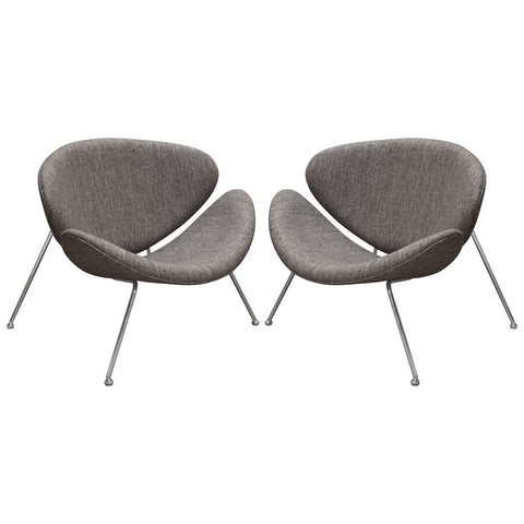 Diamond Sofa Roxy Accent Chair w/Chrome Frame & Grey Fabric - Set of 2