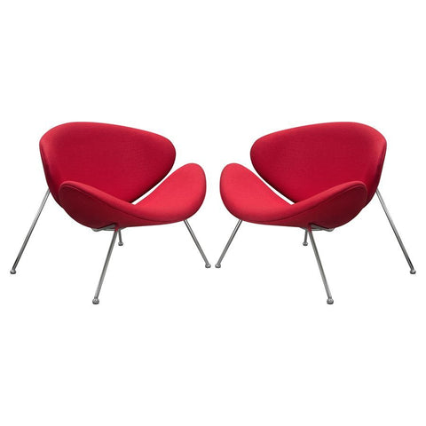 Diamond Sofa Roxy Accent Chair w/Chrome Frame & Red Fabric - Set of 2