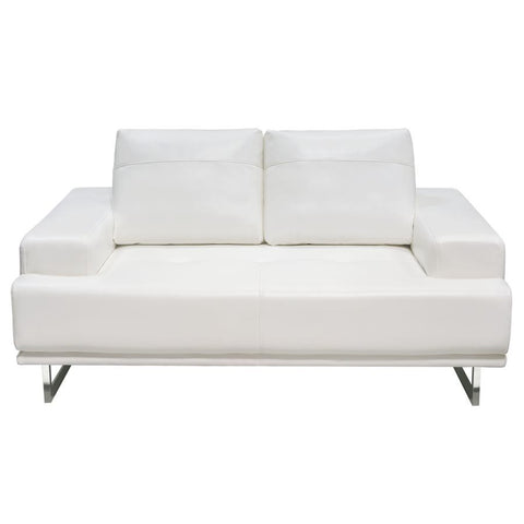 Diamond Sofa Russo Loveseat w/Adjustable Seat Backs in White Air Leather