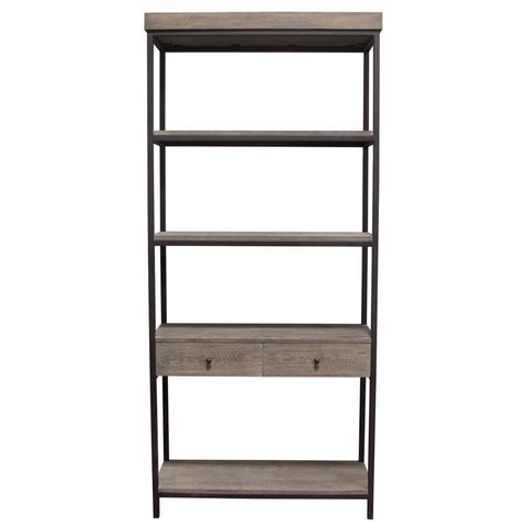 Diamond Sofa Sequoia 87 Inch 2 Drawered Shelf Unit in Grey Oak w/Iron Frame