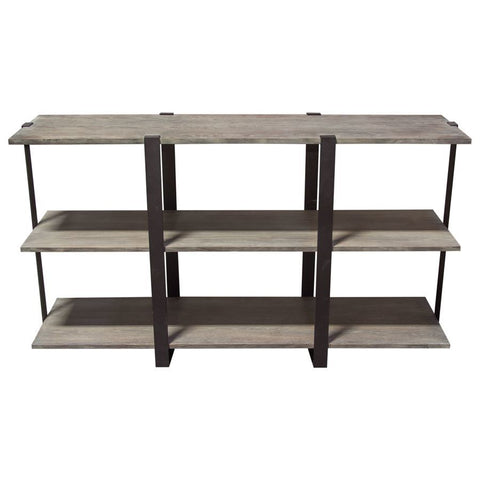 Diamond Sofa Sherman 59 Inch 3-Tiered Shelf Unit in Grey Oak w/Iron Supports