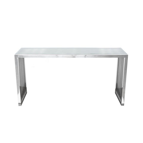 Diamond Sofa Soho Rectangular Stainless Steel Console Table w/ Clear & Tempered Glass Top