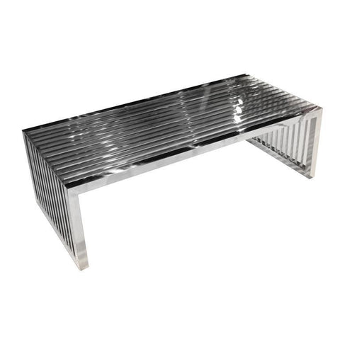 Diamond Sofa Soho Soho Rectangular Stainless Steel Cocktail Table With Clear, Tempered Glass Top