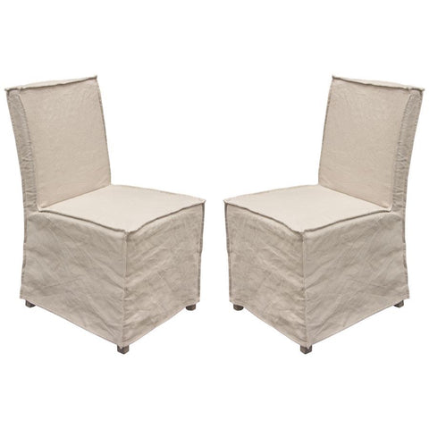Diamond Sofa Sonoma Dining Chairs w/Wood Legs & Sand Linen Removable Slipcover - Set of 2