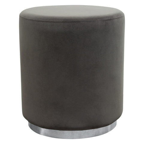 Diamond Sofa Sorbet Round Accent Ottoman in Grey Velvet w/Silver Metal Band Accent