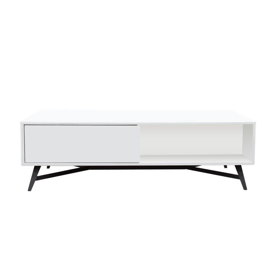 Remarkable Diamond Sofa Tempo Cocktail Table W Storage In White Lacquer Finish Black Powder Coated Legs Pabps2019 Chair Design Images Pabps2019Com