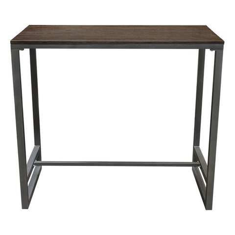 Diamond Sofa Tex Rectangular Bar Height Table w/Dark Wood Top & Gun Metal Base