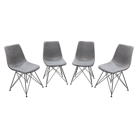 Diamond Sofa Theo Dining Chairs in Steel Grey PU w/Powder Coated Metal Frame - Set of 4