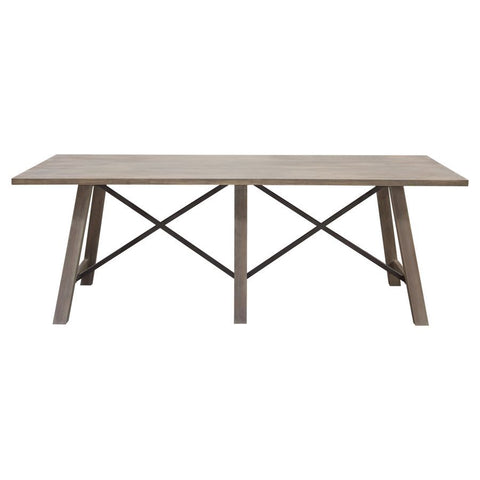 Diamond Sofa Tuscany 87 Inch Dining Table in Grey Oak w/Metal Cross Supports