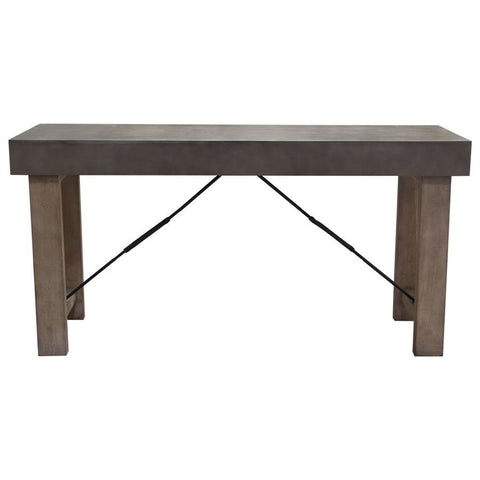Diamond Sofa Utah 72 Inch Counter Height Table w/Faux Concrete Top in Iron