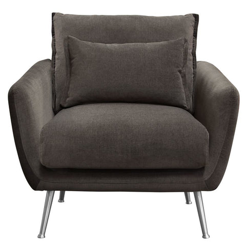 Diamond Sofa Vantage Chair in Iron Grey Fabric w/Feather Down Seating & Brushed Silver Leg