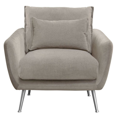 Diamond Sofa Vantage Chair in Light Flax Fabric w/Feather Down Seating & Brushed Silver Leg