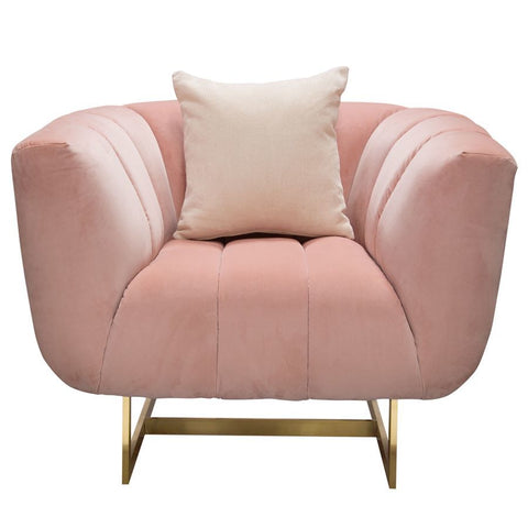 Diamond Sofa Venus Chair in Blush Pink Velvet w/Contrasting Pillows & Gold Metal Base