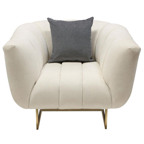 Diamond Sofa Venus Cream Fabric Chair w/Contrasting Pillows & Gold Finished Metal Base