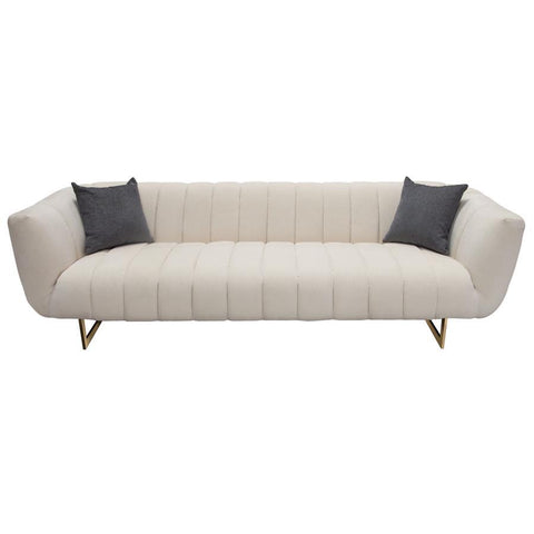 Diamond Sofa Venus Cream Fabric Sofa w/Contrasting Pillows & Gold Finished Metal Base