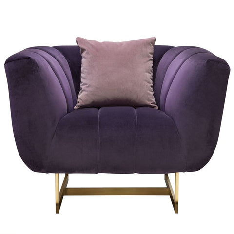 Diamond Sofa Venus Sofa in Violet Velvet w/Contrasting Pillows & Gold Metal Base