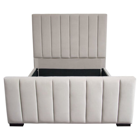 Diamond Sofa Venus Vertical Channel Tufted Uphlstered Platform Bed in Light Grey Velvet