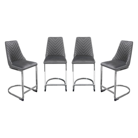 Diamond Sofa Vogue Counter Height Chairs in Grey Velvet w/Polished Stainless Steel Base - Set of 4