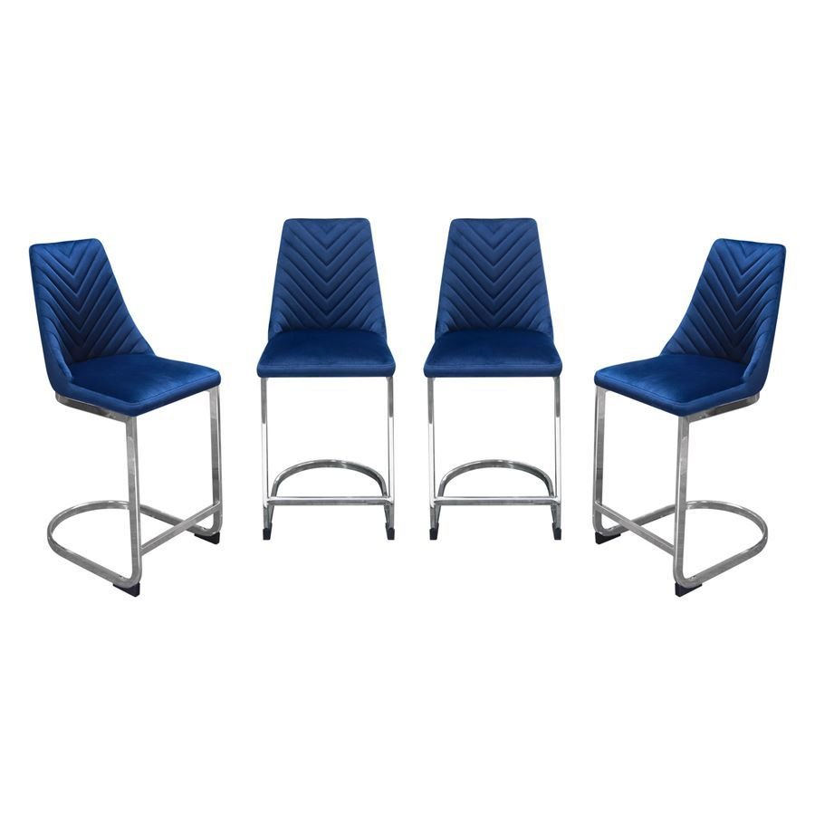 Diamond Sofa Vogue Counter Height Chairs In Navy Blue