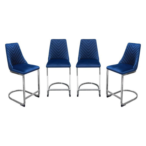 Diamond Sofa Vogue Counter Height Chairs in Navy Blue Velvet w/Polished Stainless Steel Base - Set of 4