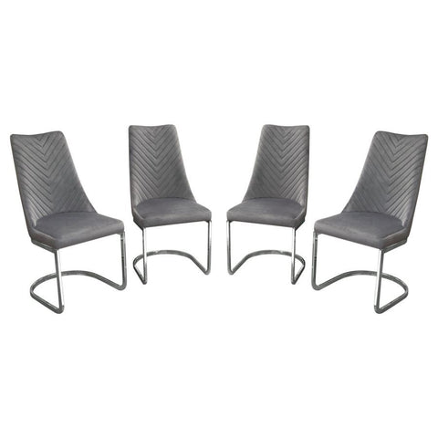 Diamond Sofa Vogue Dining Chairs in Grey Velvet w/Polished Stainless Steel Base - Set of 4