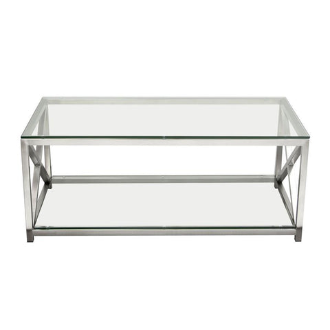 Diamond Sofa X-Factor Cocktail Table w/Clear Glass Top & Shelf w/Brushed Stainless Steel Frame