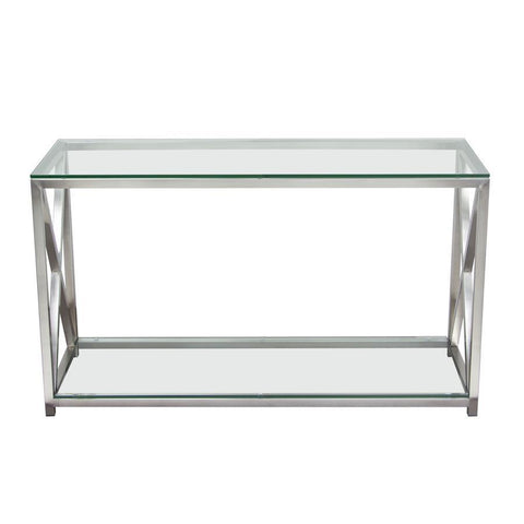 Diamond Sofa X-Factor Console Table w/Clear Glass Top & Shelf w/Brushed Stainless Steel Frame