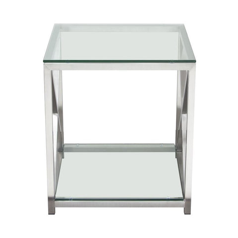 Diamond Sofa X-Factor End Table w/Clear Glass Top & Shelf w/Brushed Stainless Steel Frame