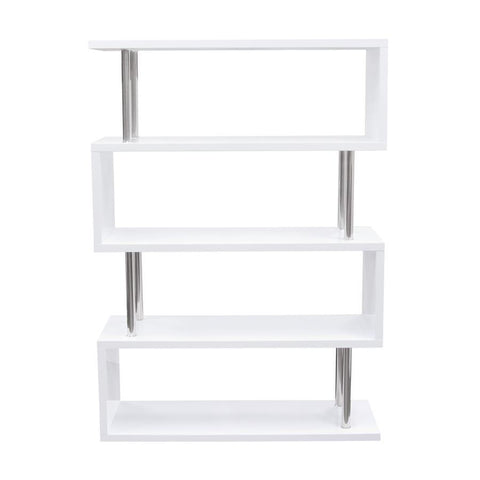 Diamond Sofa X-Series Large Shelving Unit in White Lacquer w/Metal Supports