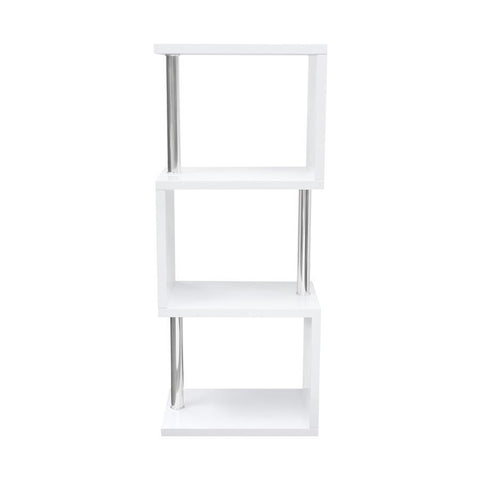 Diamond Sofa X-Series Small Shelving Unit in White Lacquer w/Metal Supports
