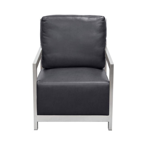 Diamond Sofa Zen Accent Chair w/ Stainless Steel Frame - Black