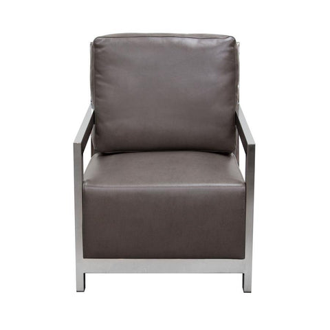 Diamond Sofa Zen Accent Chair w/ Stainless Steel Frame - Elephant Grey