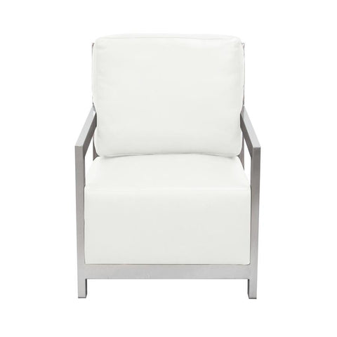 Diamond Sofa Zen Accent Chair w/ Stainless Steel Frame - White