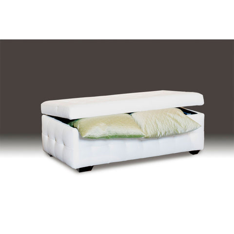 Diamond Sofa Zen Leather Lift Top Tufted Storage Trunk in White