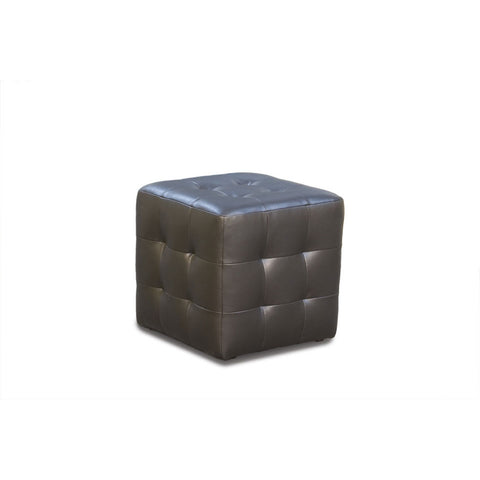 Diamond Sofa Zen Leather Tufted Cube Accent Ottoman in Mocca