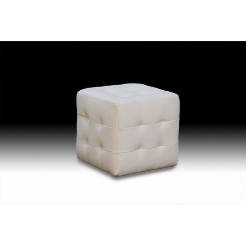Diamond Sofa Zen Leather Tufted Cube Accent Ottoman in White