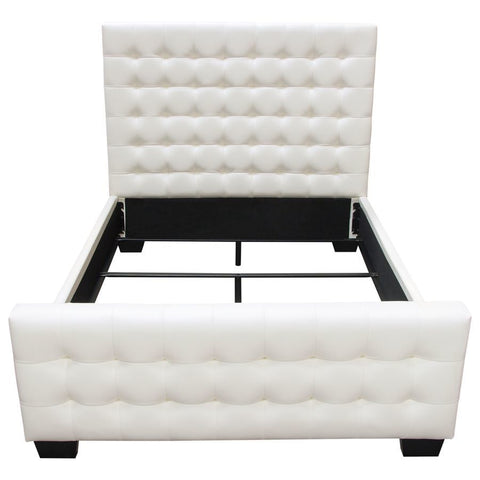Diamond Sofa Zen Tufted Uphlstered Platform Bed w/Oversized Footboard in White Leatherette