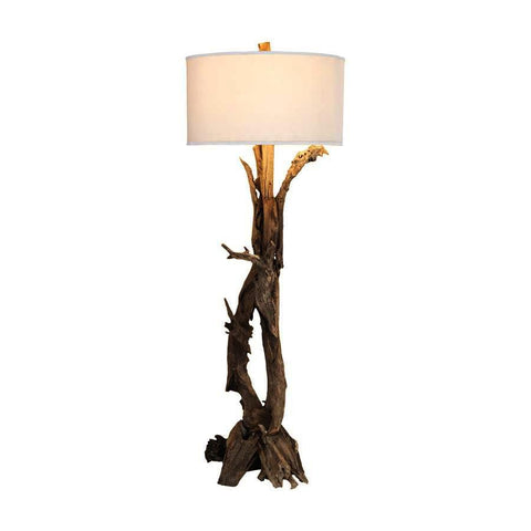 Dimond Home Hounslow Heath Natural 68-In Teak Root Floor Lamp with White Fabric Shade