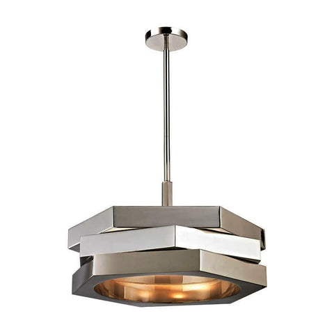 Dimond Lighting Facet 3 Light Pendant In Polished Nickel