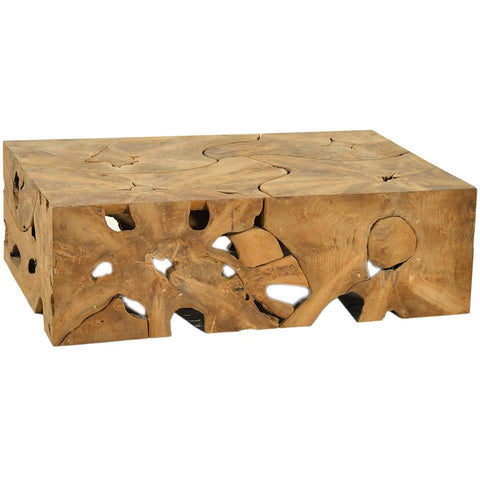 Dovetail Block Teak Root Coffee Table