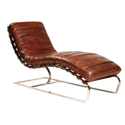 Dovetail James Chaise In Antique Brown