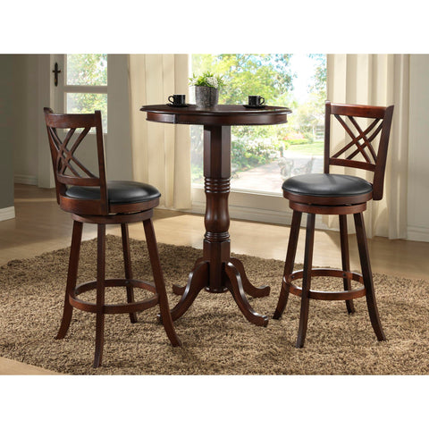 "ECI Furniture 30"" Distressed Walnut Adjustable Pub Table With Walnut Double X Back Stool"